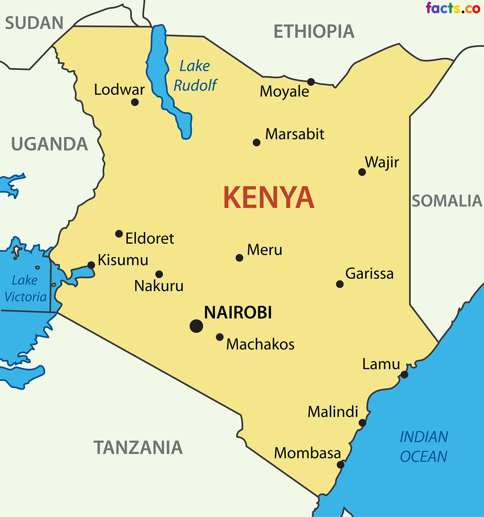 Kenya Land Kort Kort Over Kenya Land Ostlige Afrika Afrika