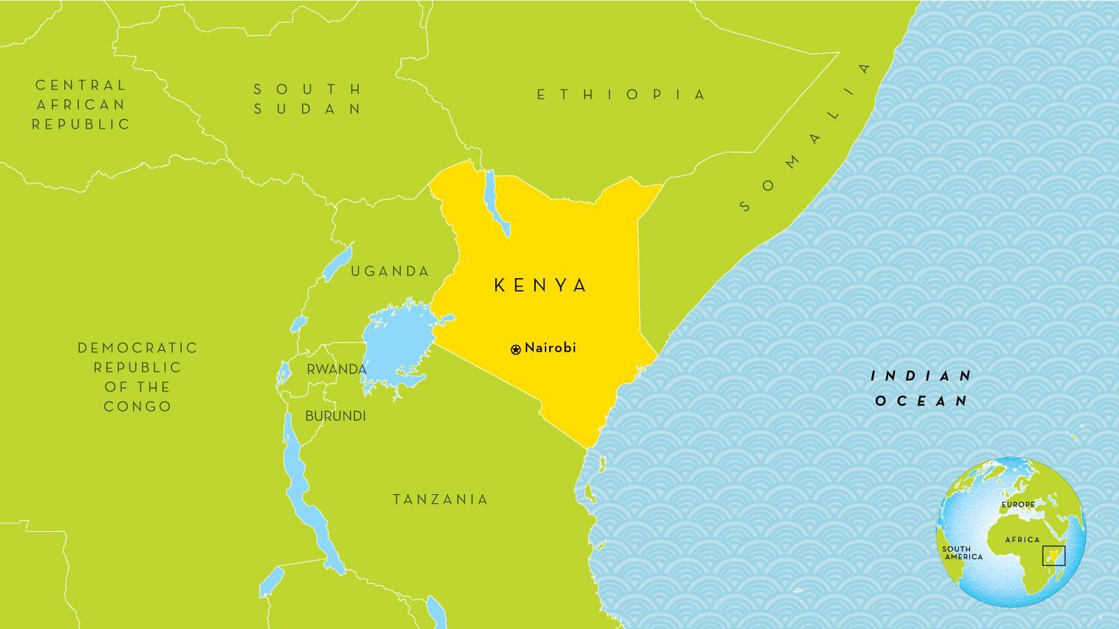 Kenya Nabolandene Kort Kort Over Kenya Og De Omkringliggende