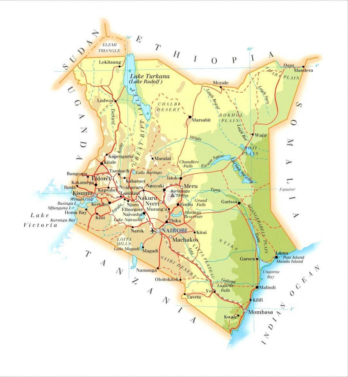 Fysisk Kort Af Kenya Kenya Fysiske Funktioner Kort Ostlige