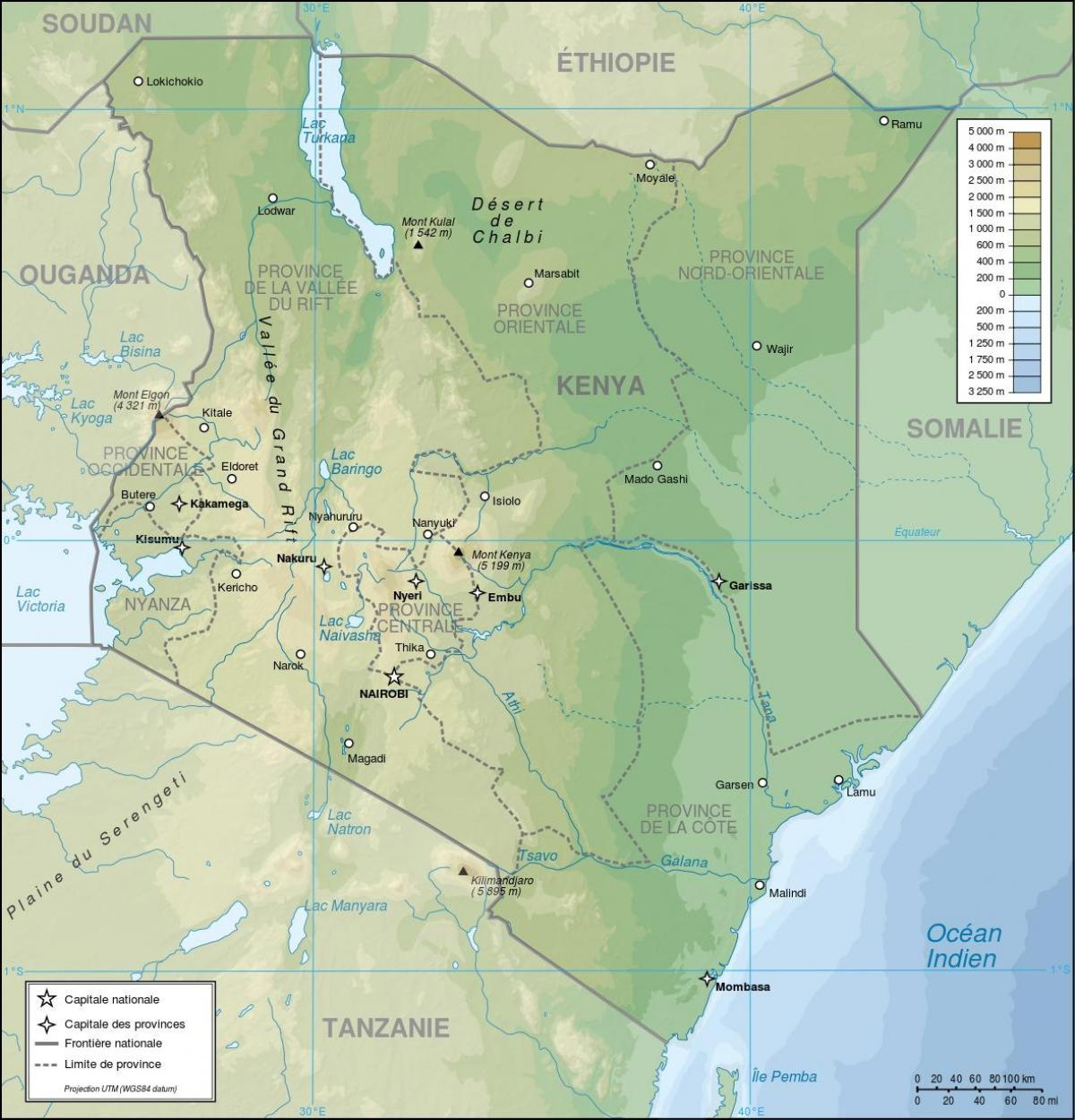 Kenya Topografisk Kort Kenya Relief Kort Ostlige Afrika Afrika